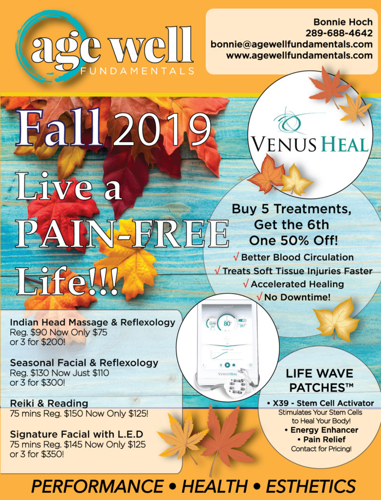 Agewell Fundamentals Fall Specials 2019. Spa Esthetics, Venus Heal, Lifewave Patches and more